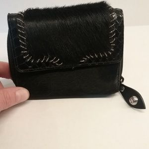 Francesco Biasia Leather and fur wallet